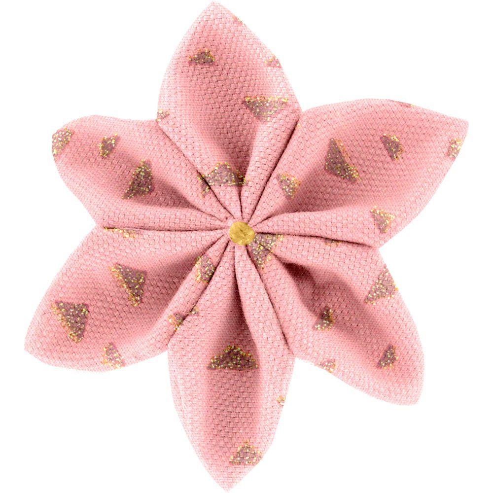 Barrette fleur étoile 4 triangle or poudré