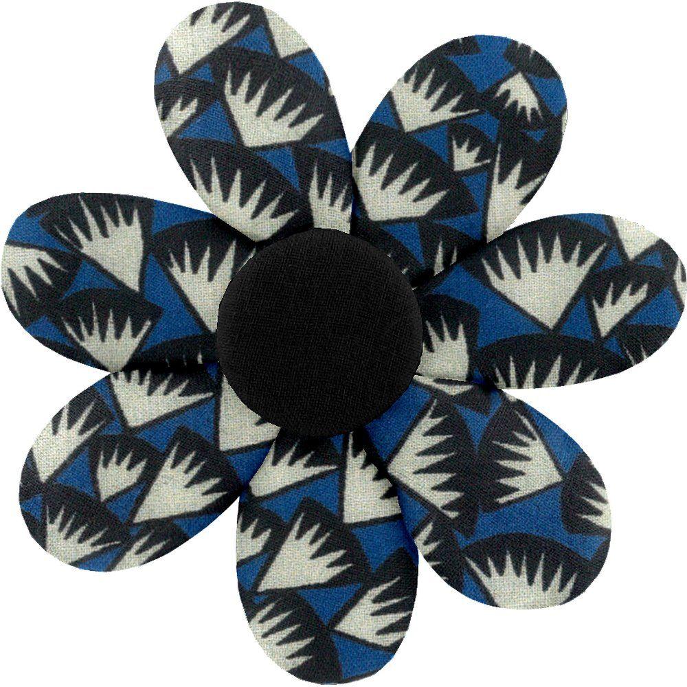 Barrette fleur marguerite  eclats bleu nuit