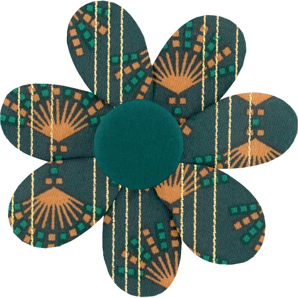 Fabrics flower hair clip eventail or vert