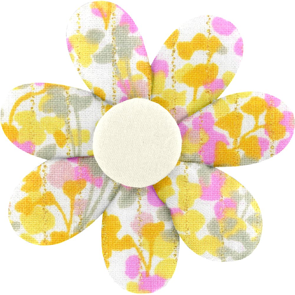 Barrette fleur marguerite mimosa jaune rose