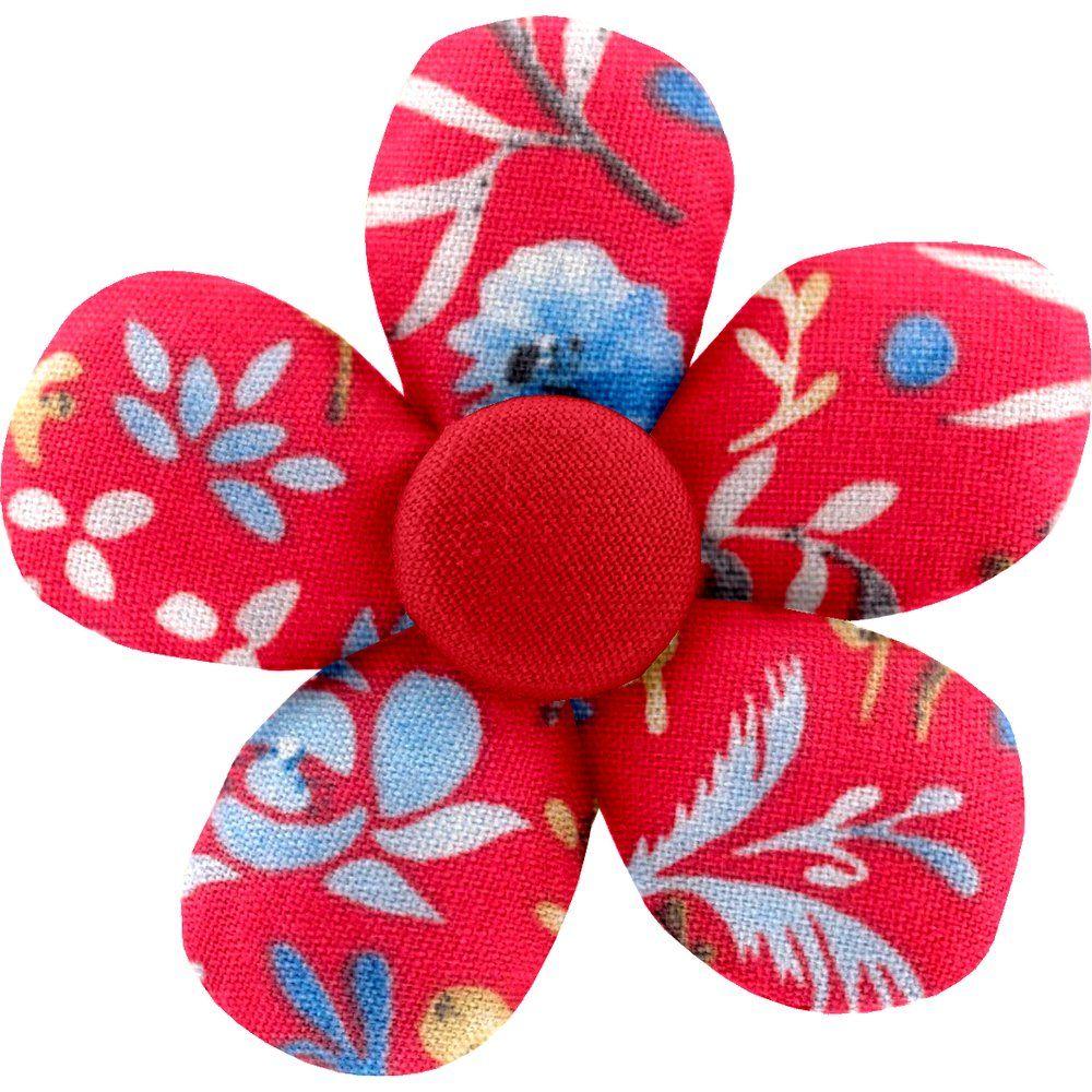 Mini flower hair slide cherry cornflower