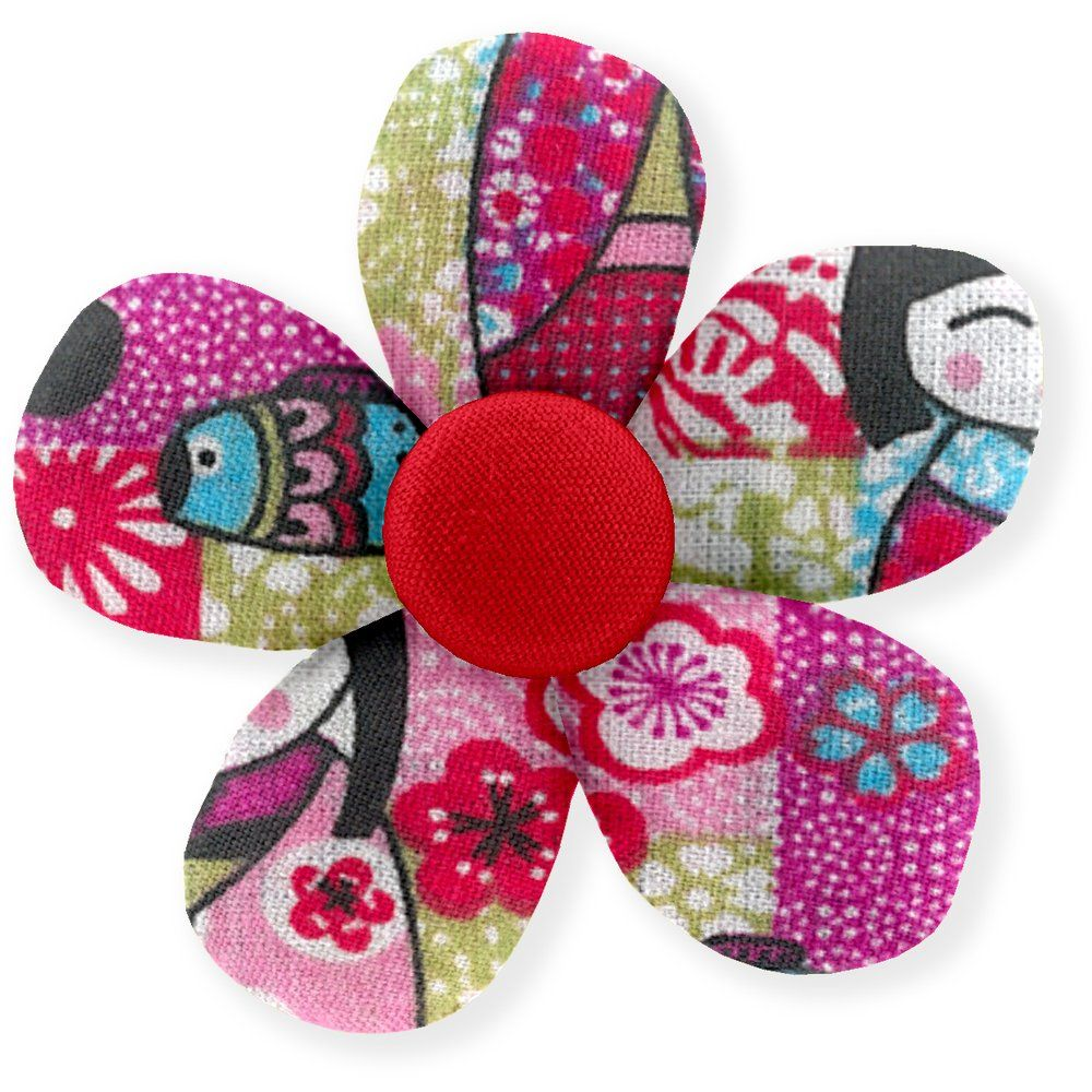 Mini flower hair slide kokeshis
