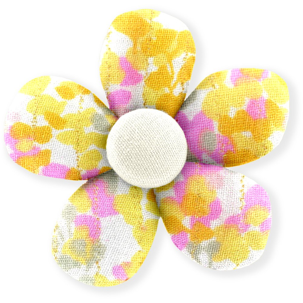 Petite barrette mini-fleur mimosa jaune rose