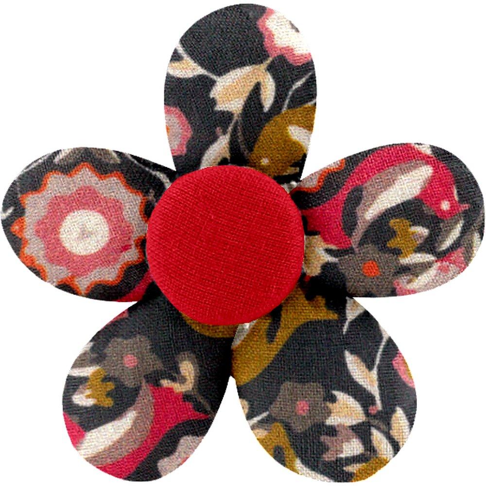 Petite barrette mini-fleur oiseau ocre - PPMC eeae5df1b6c
