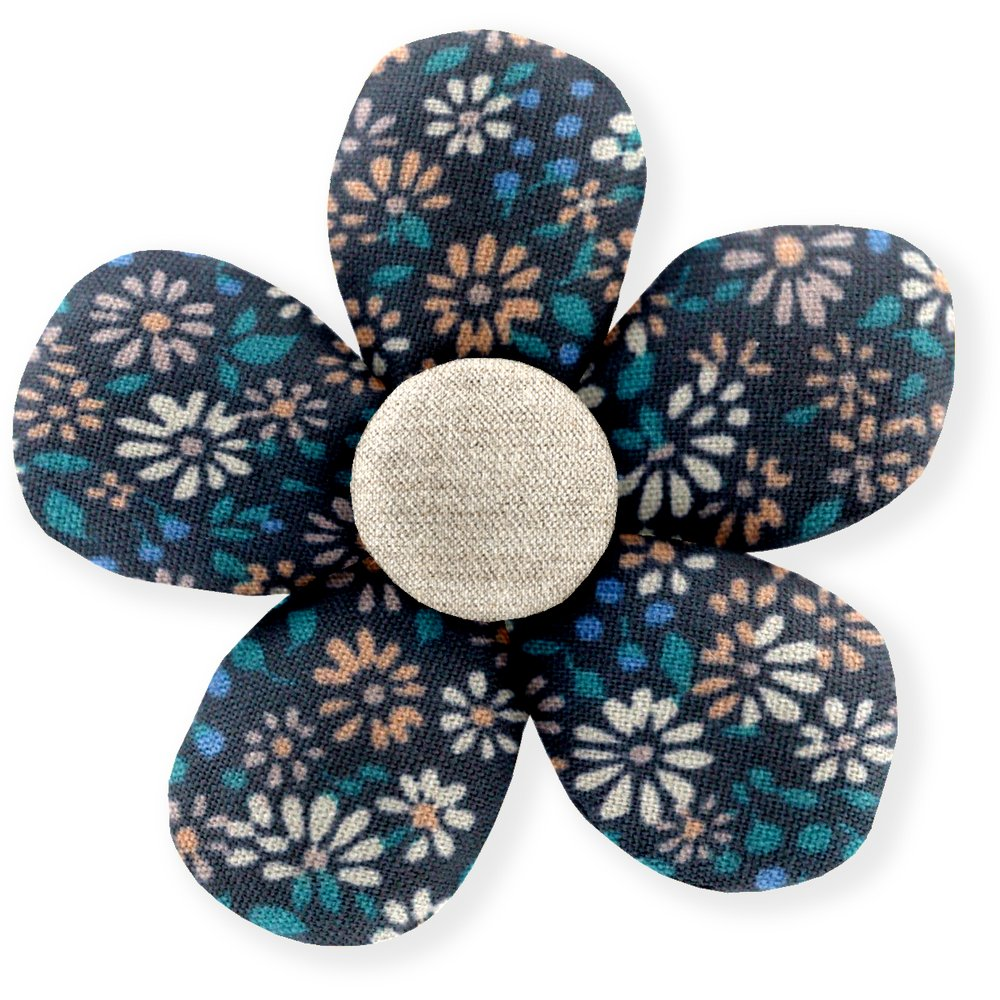 Petite barrette mini-fleur paquerette marine