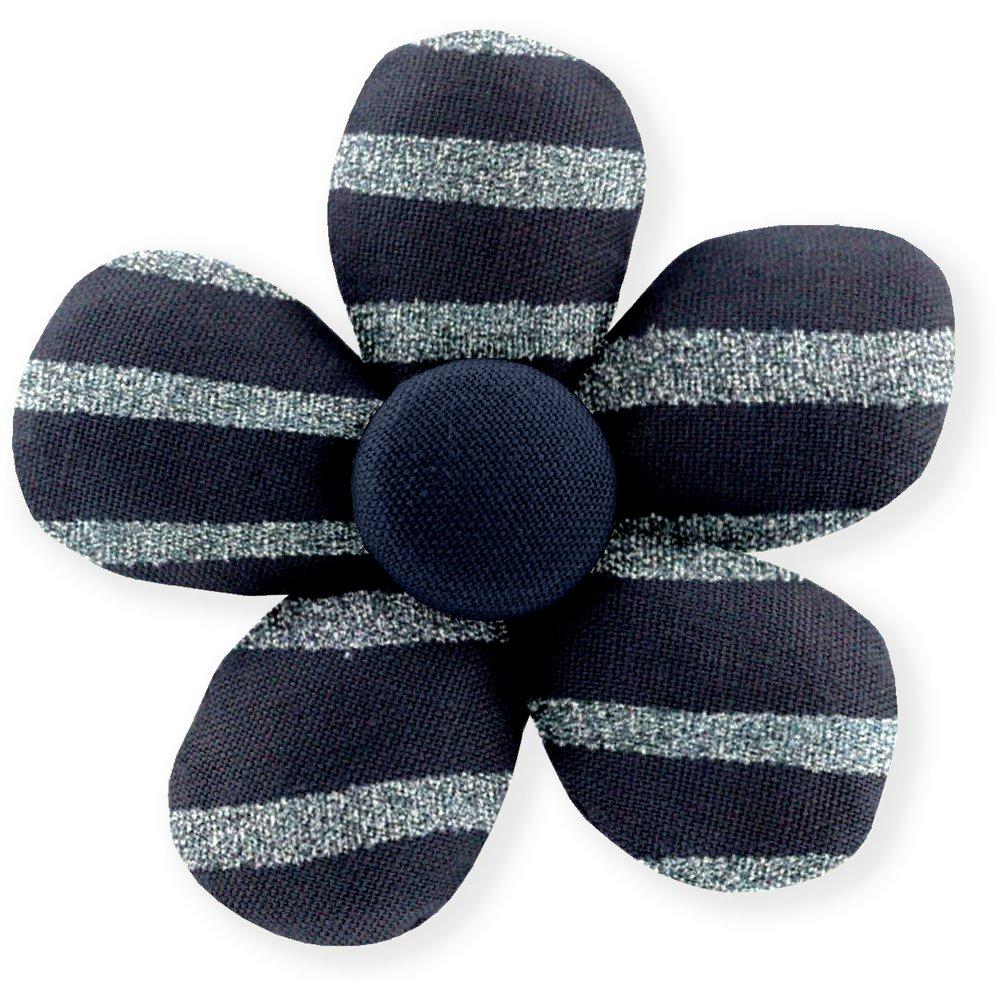 Petite barrette mini-fleur rayé argent marine