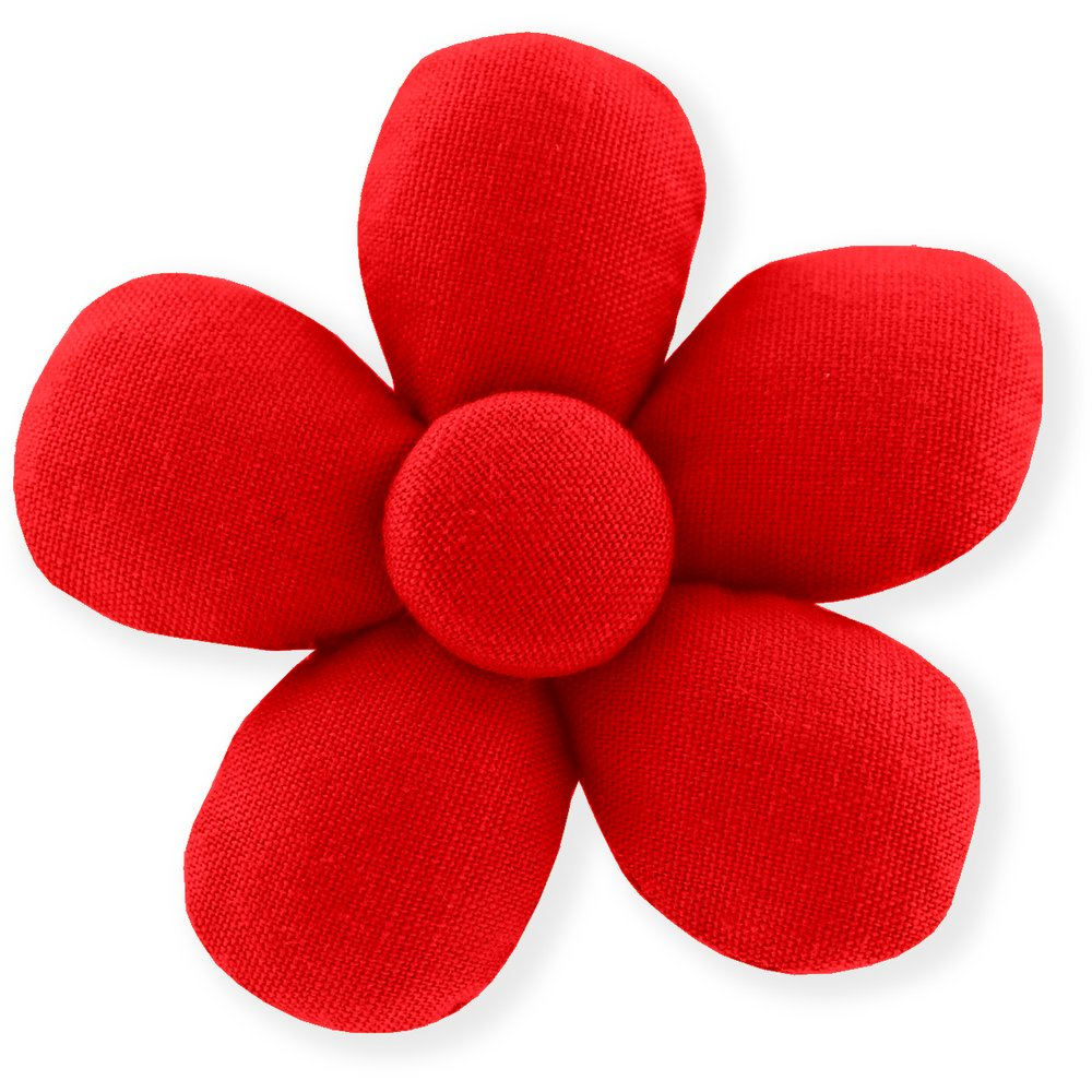 Petite barrette mini-fleur rouge tangerine