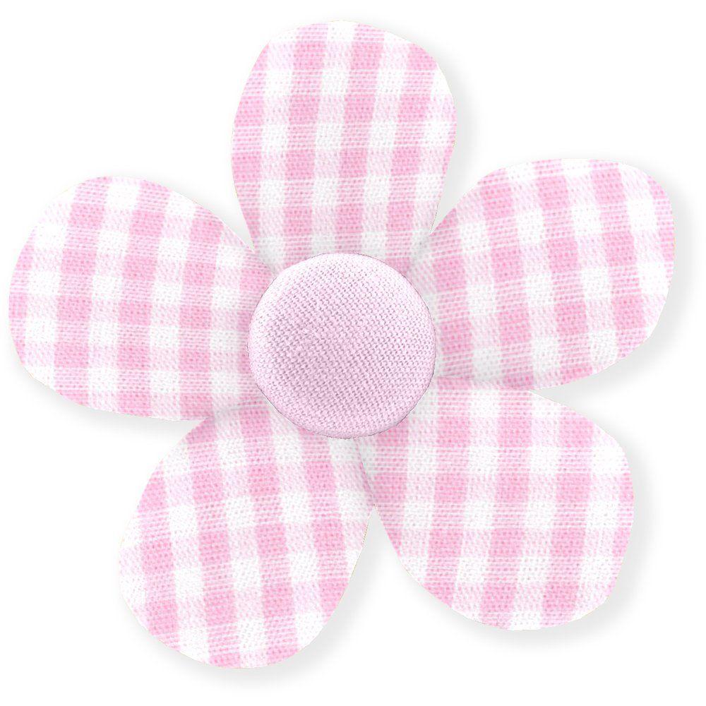 Petite barrette mini-fleur vichy rose