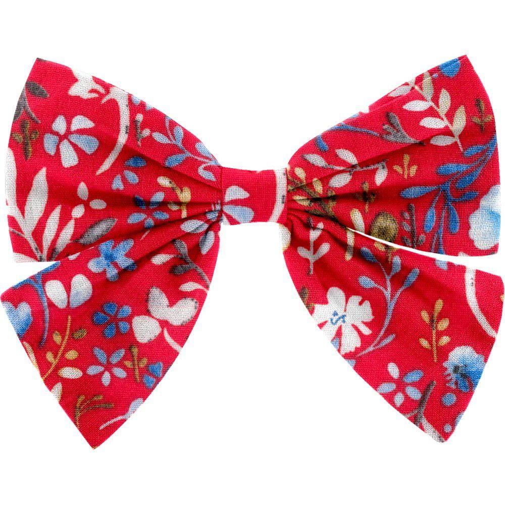 Barrette noeud papillon bleuets cherry