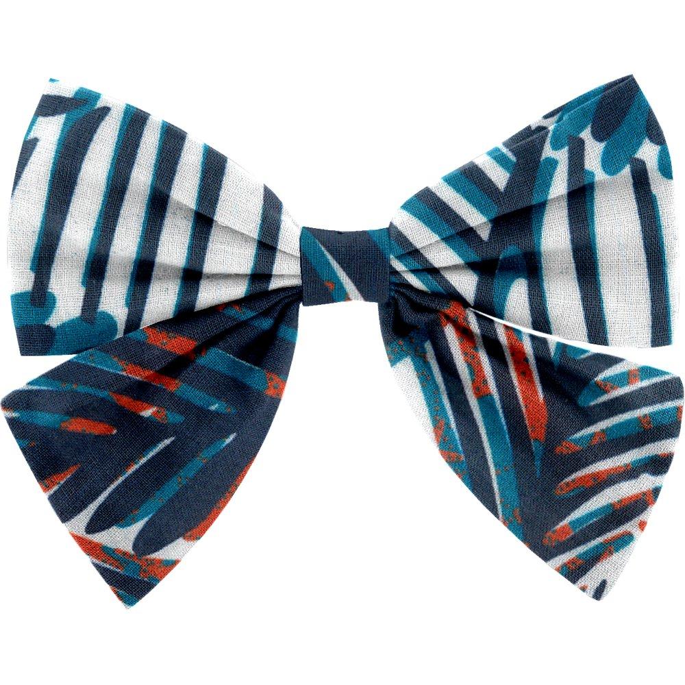 Bow tie hair slide feuillage marine