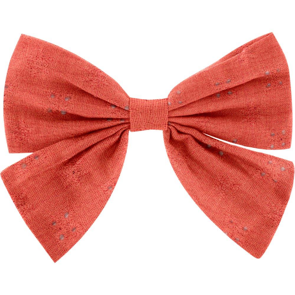 Bow tie hair slide gaze dentelle corail