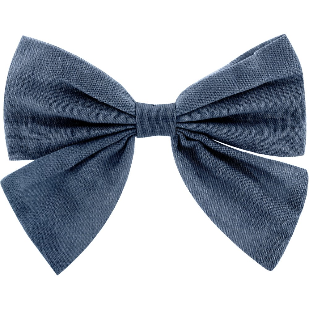 Bow tie hair slide light denim