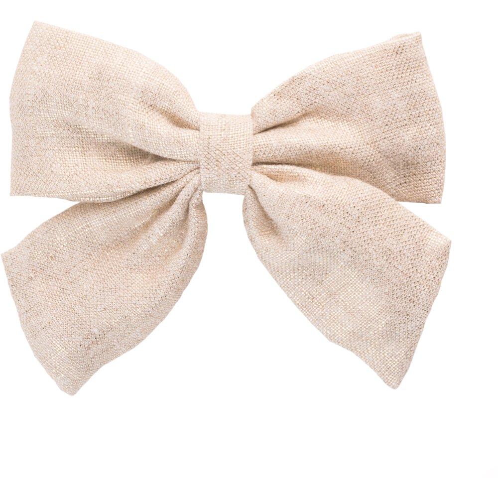 Bow tie hair slide  glitter linen