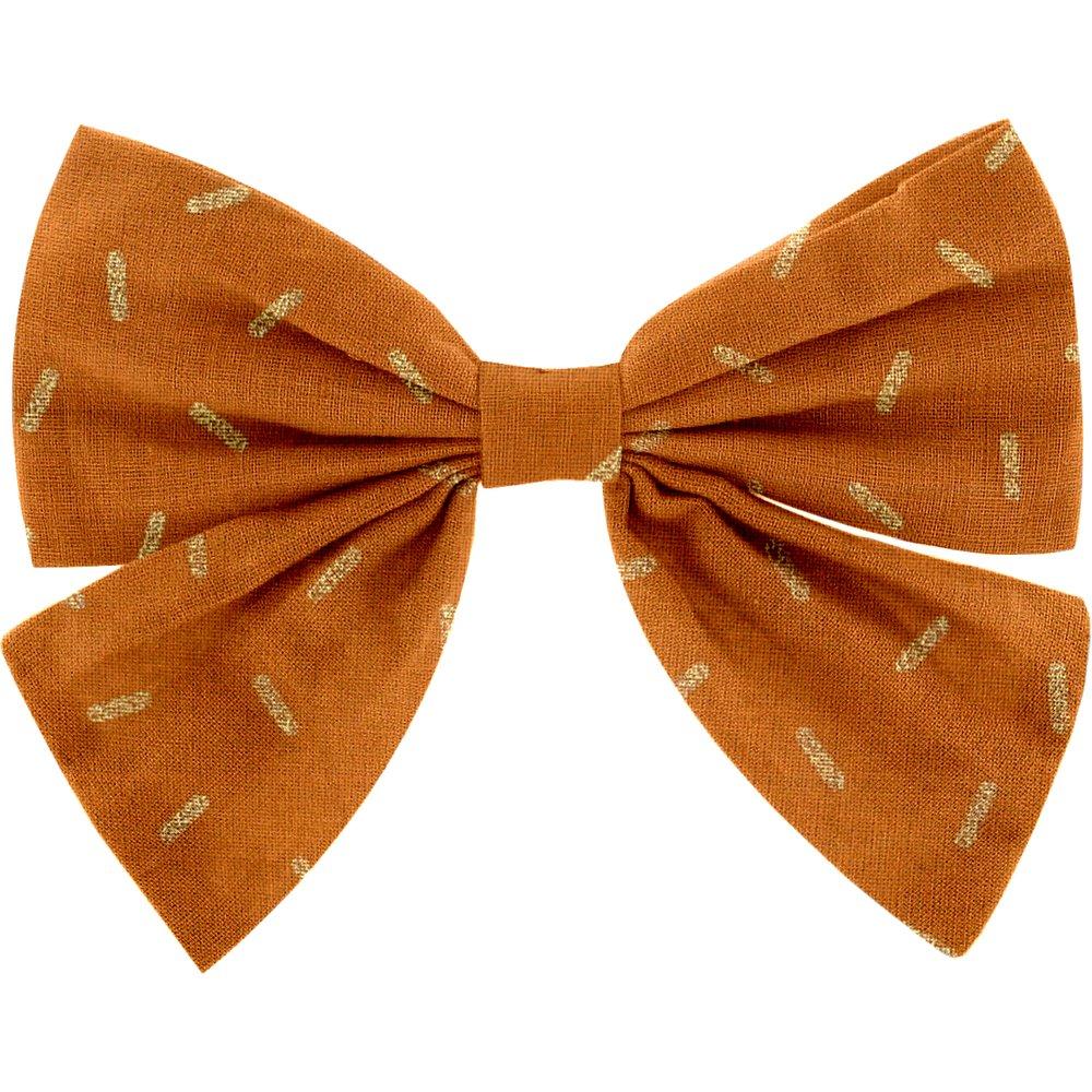 Barrette noeud papillon paille dorée caramel