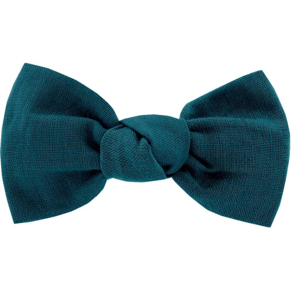 Barrette petit noeud bleu vert