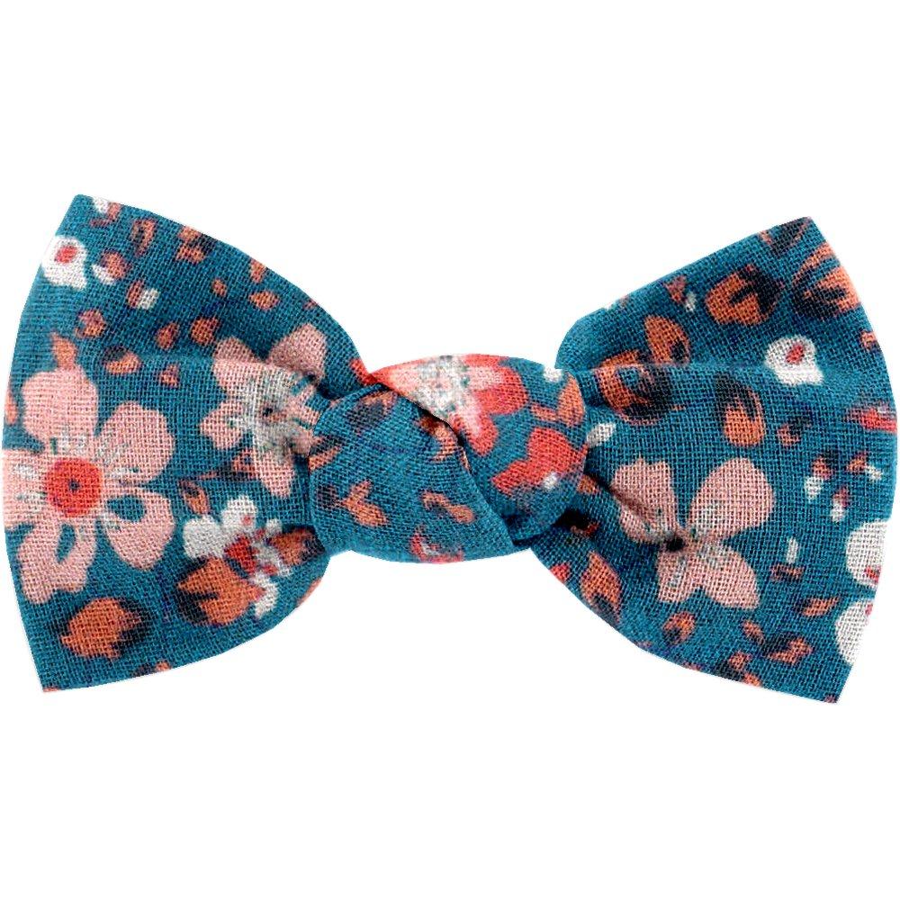 Small bow hair slide fleuri nude ardoise