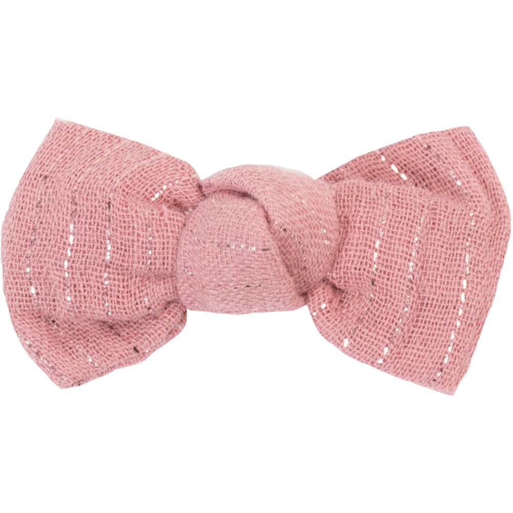 Small bow hair slide dusty pink lurex gauze