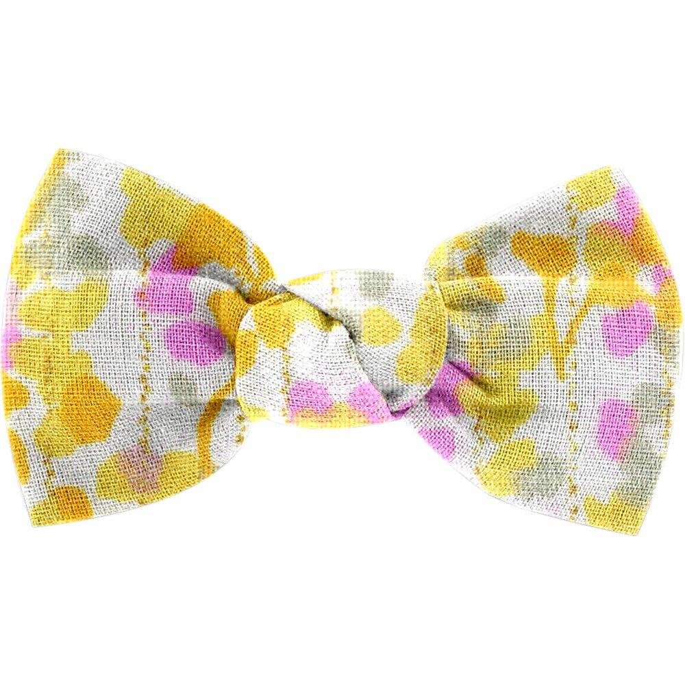 Small bow hair slide mimosa jaune rose