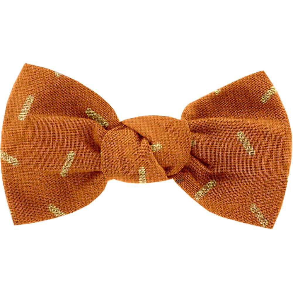 Small bow hair slide caramel golden straw