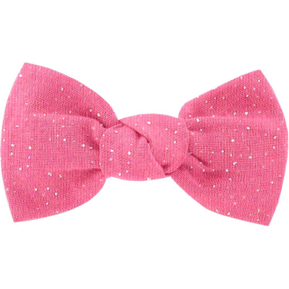 Barrette petit noeud rose pailleté