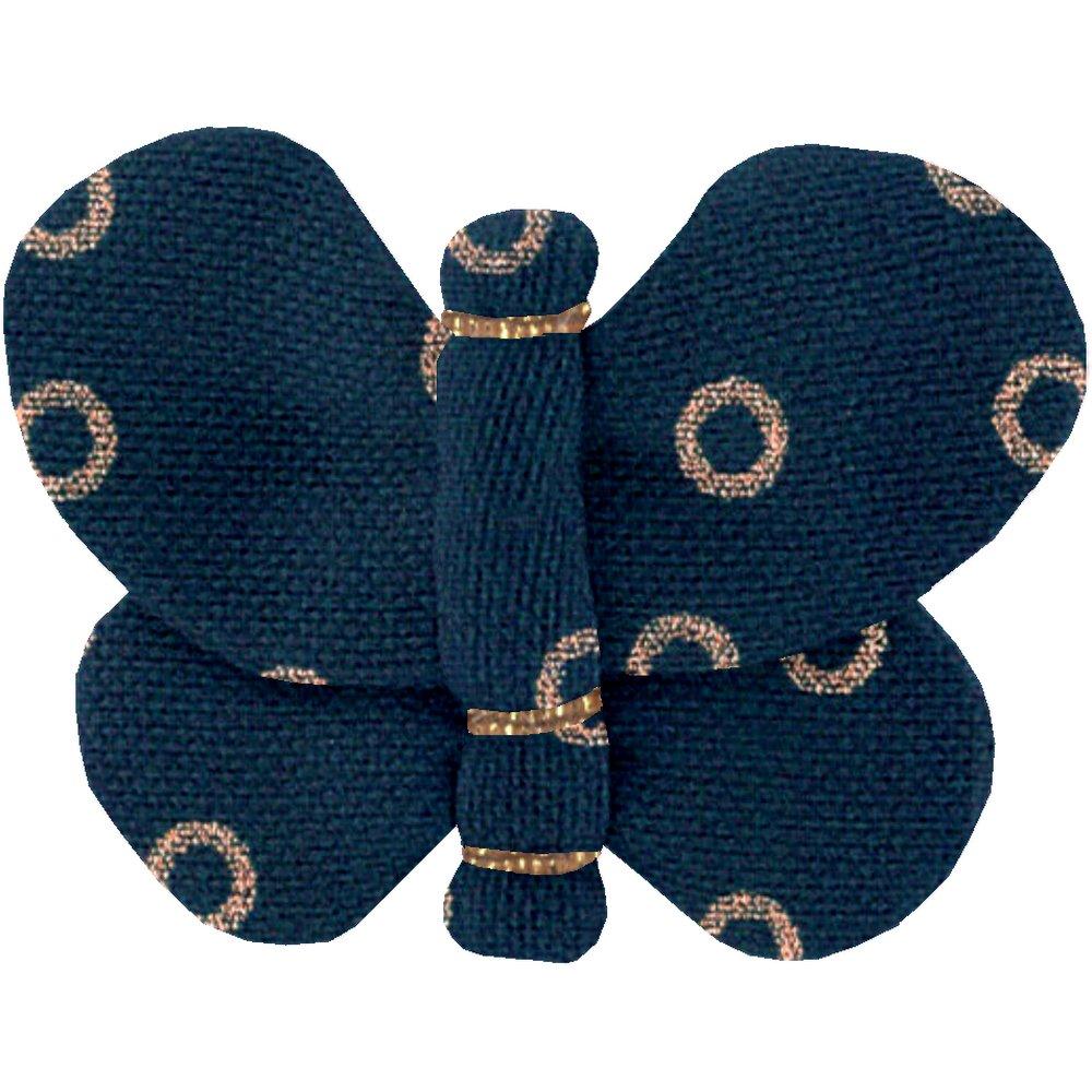 Barrette petit papillon bulle bronze marine