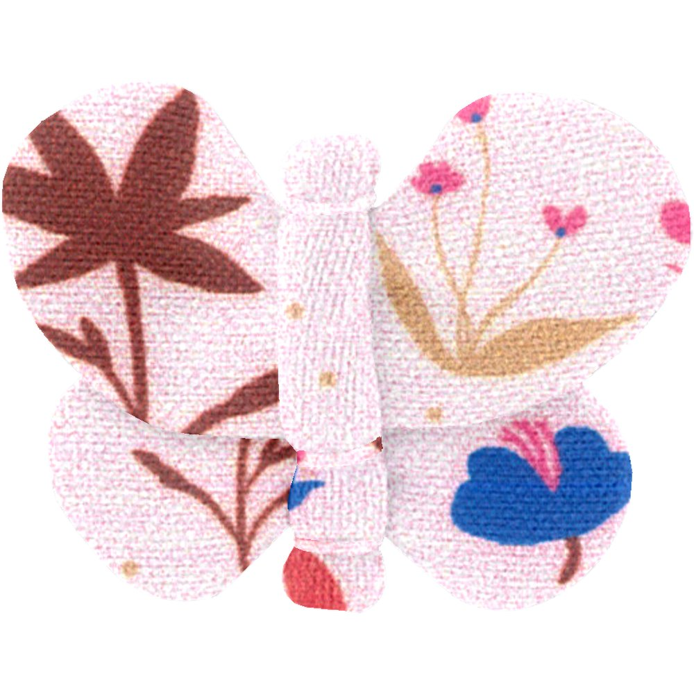 Barrette petit papillon herbier rose