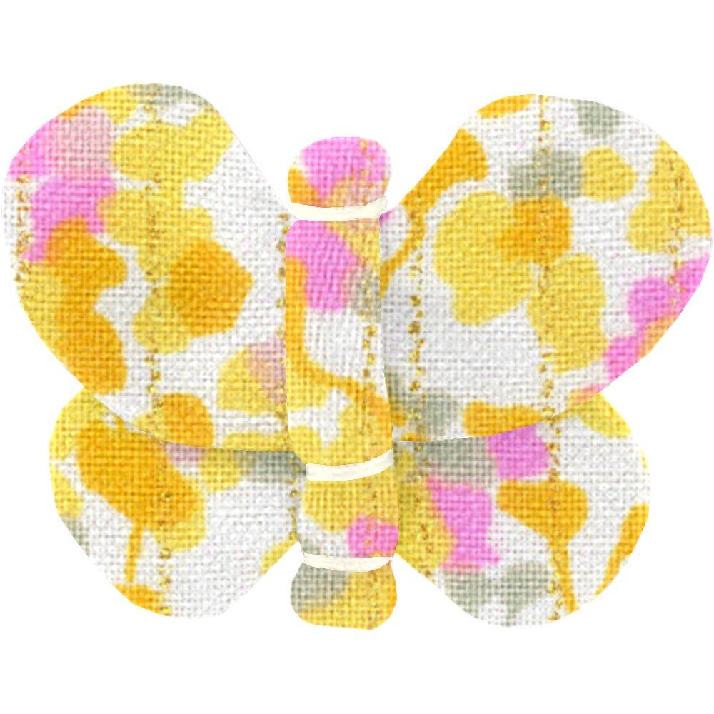 Barrette petit papillon mimosa jaune rose