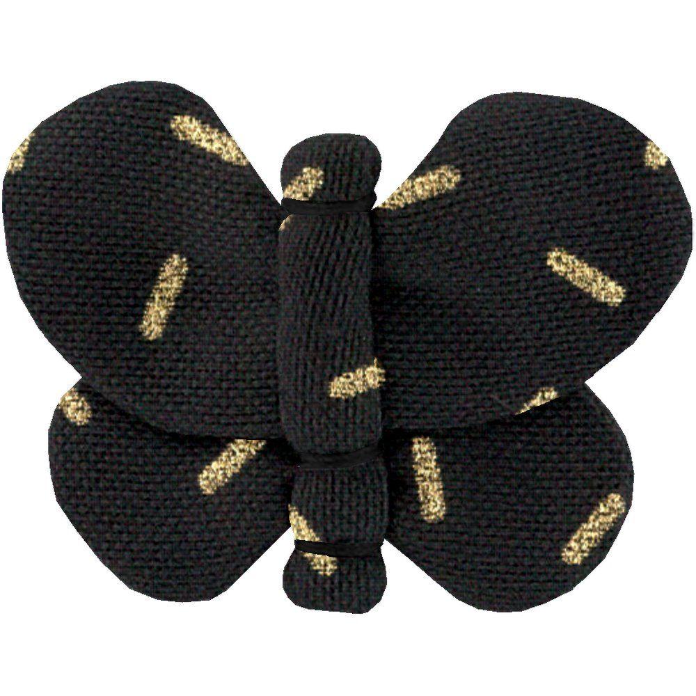 Barrette petit papillon  paille dorée noir