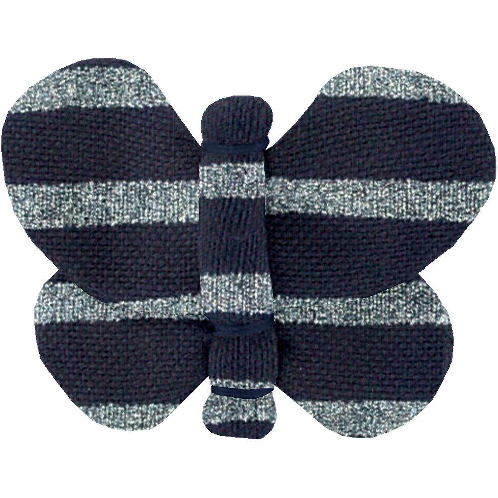 Butterfly hair clip striped silver dark blue