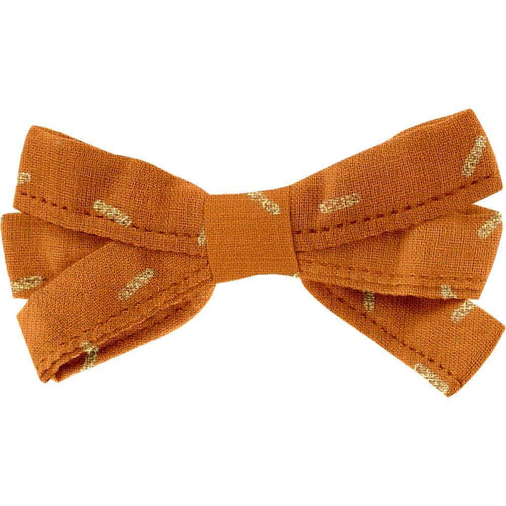 Ribbon bow hair slide caramel golden straw