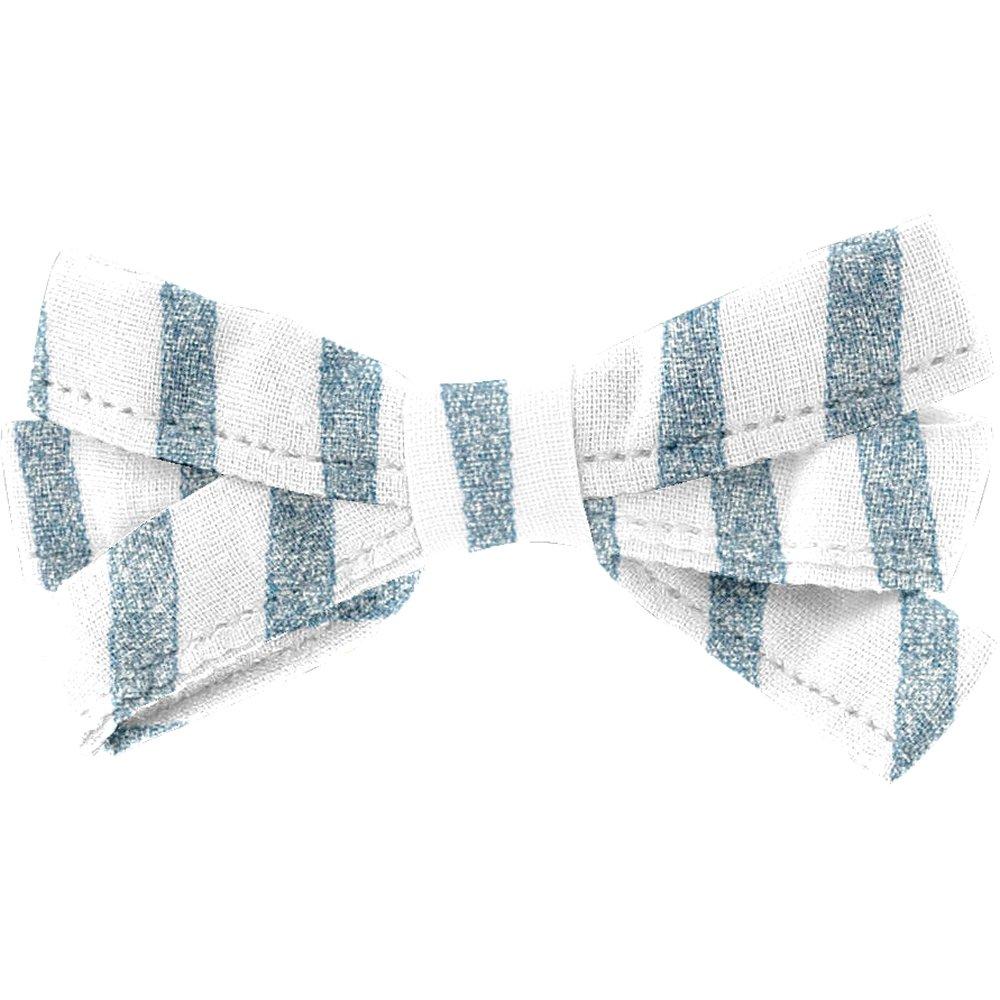 Pasador lazo listón brillo azul gris a rayas