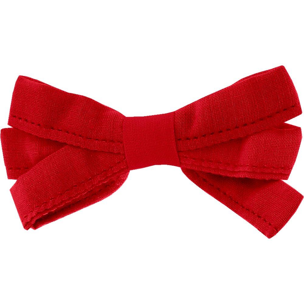 Barrette noeud ruban rouge tangerine