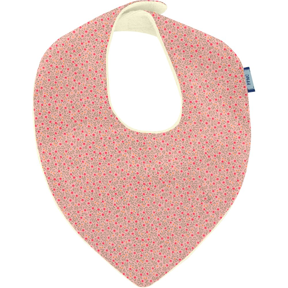 bandana bib mini pink flower