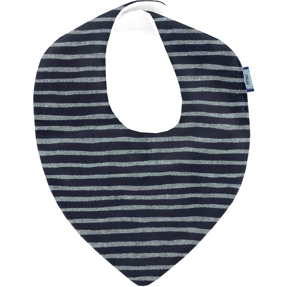 bandana bib striped silver dark blue