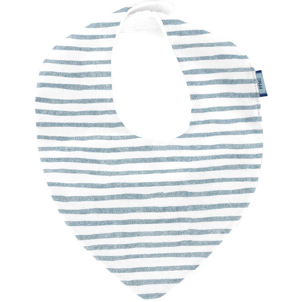 bandana bib striped blue gray glitter