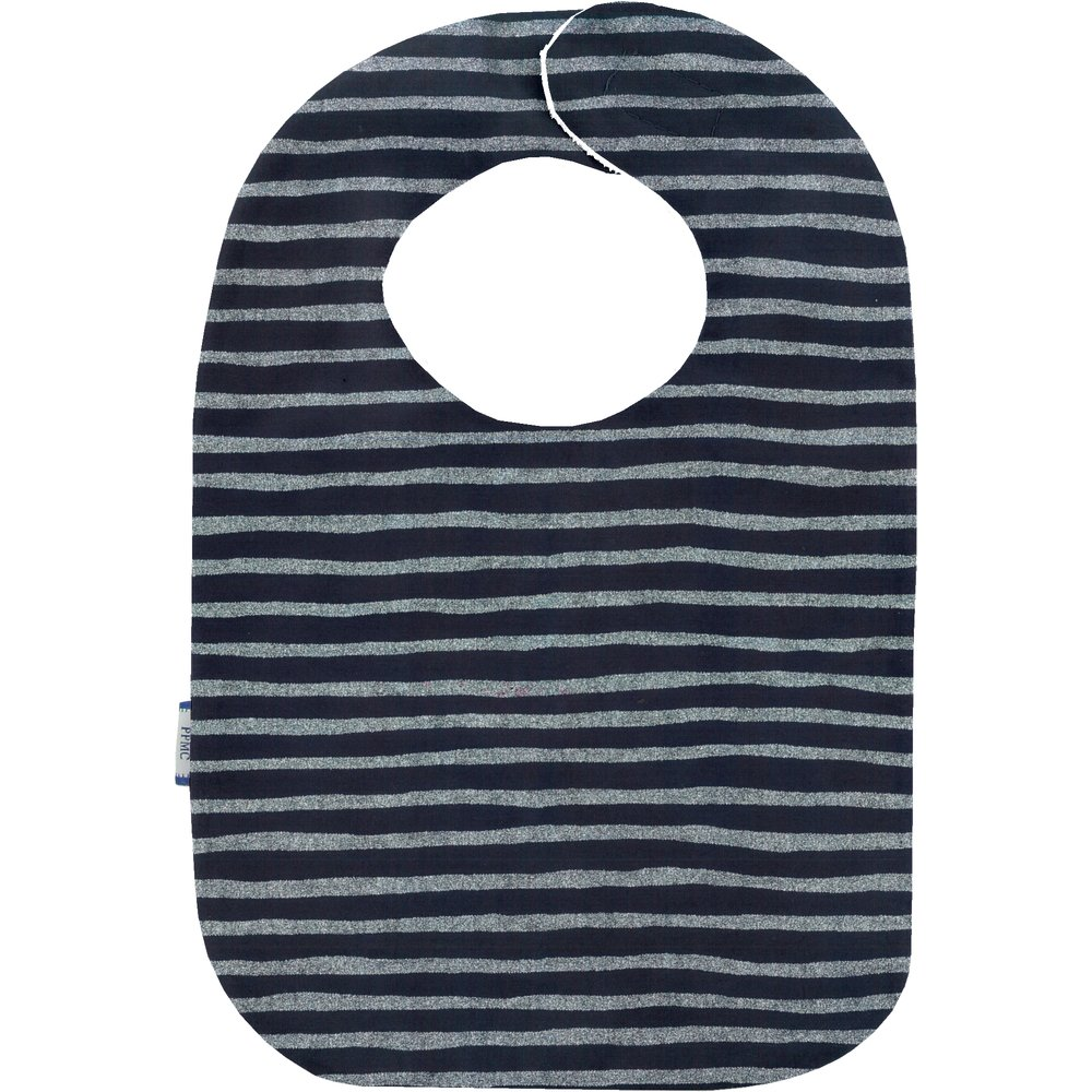 Bib - Baby size striped silver dark blue