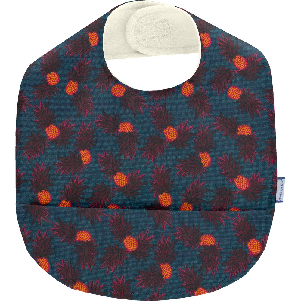 Coated fabric bib pineapple party