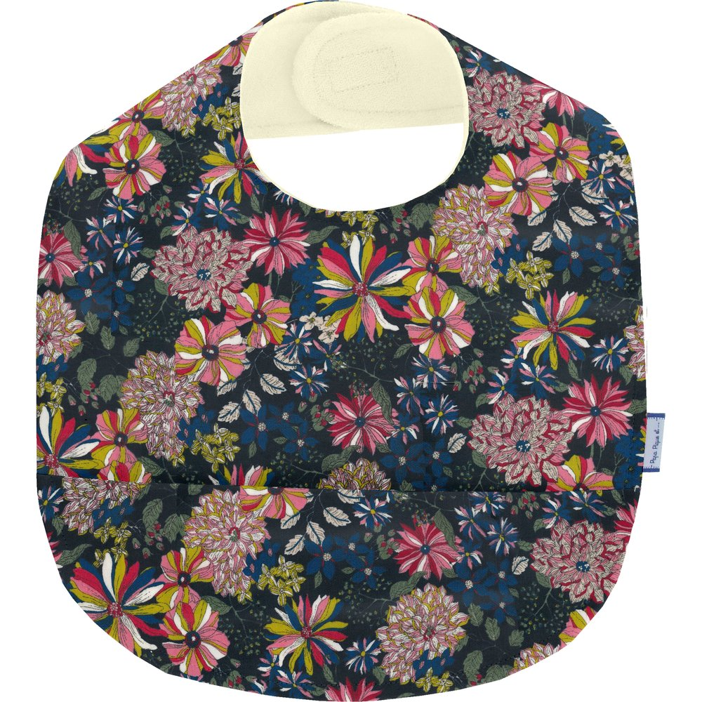 Coated fabric bib pink blue dalhia