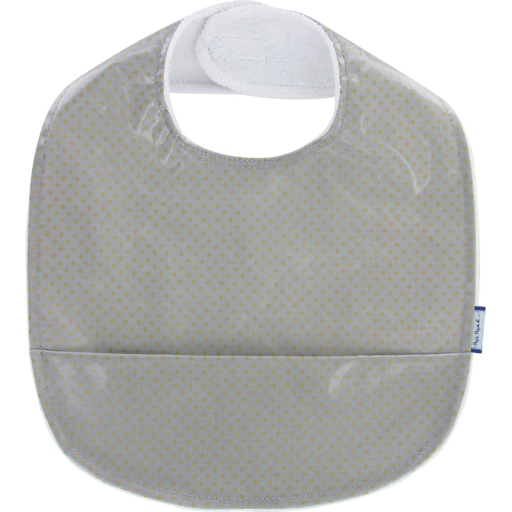 Coated fabric bib etoile or gris