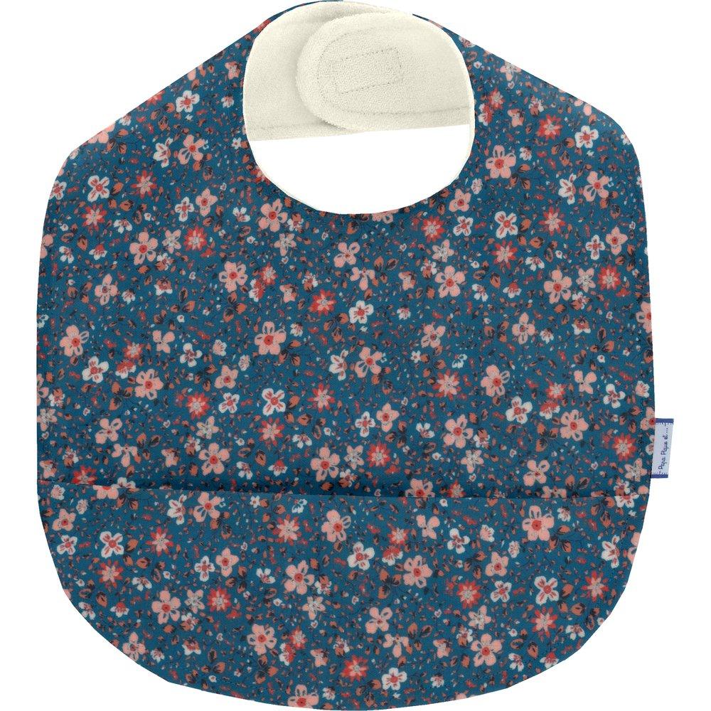 Coated fabric bib fleuri nude ardoise