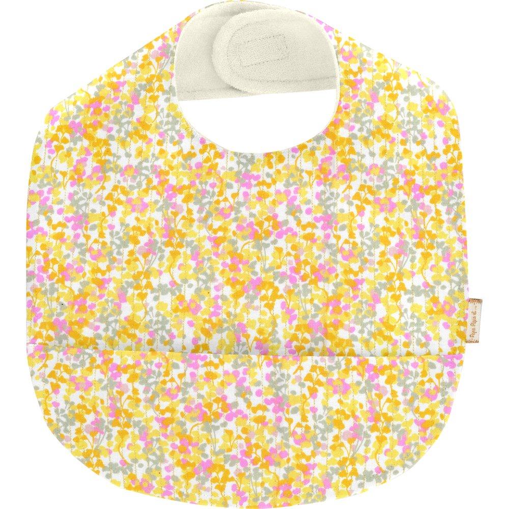 Bavoir tissu plastifié mimosa jaune rose