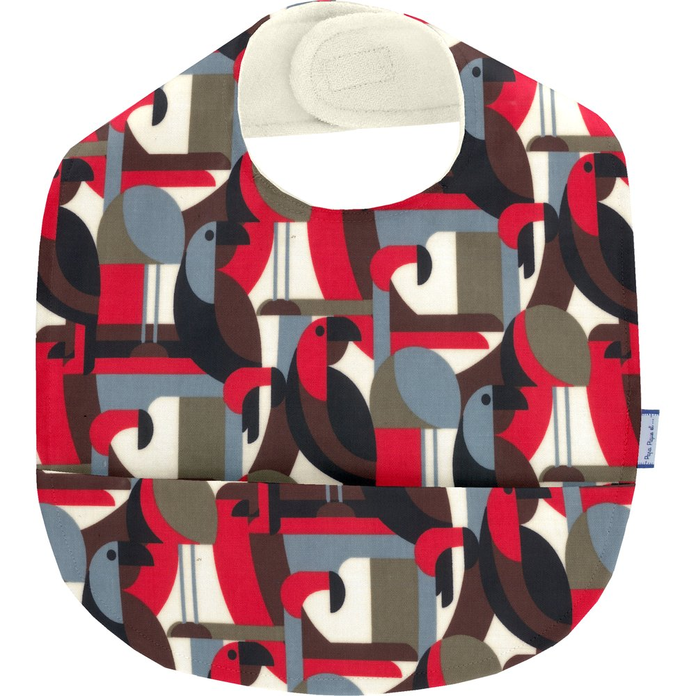 Coated fabric bib pop bird