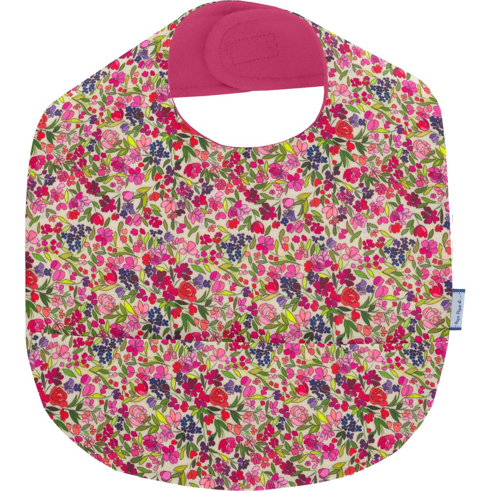 Coated fabric bib purple meadow