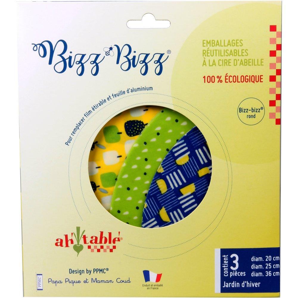 Set of 3 round Bizz-bizz® bee wraps jardin d'hiver