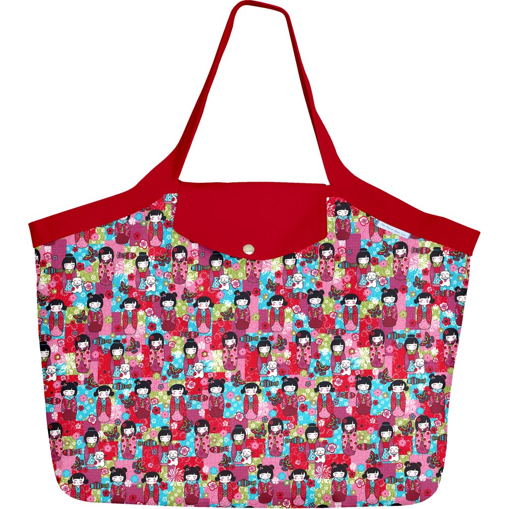 Tote bag with a zip kokeshis