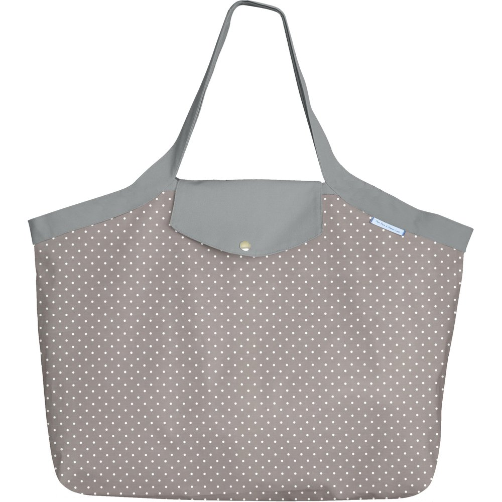 Tote bag with a zip light grey spots
