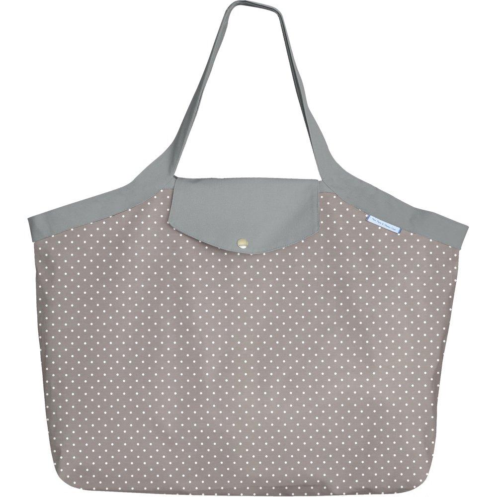 Grand sac cabas en tissu pois gris clair