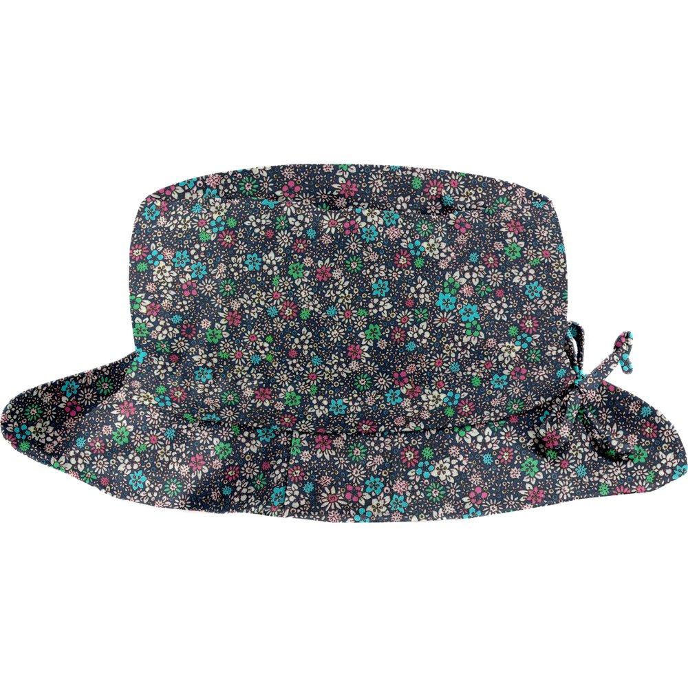 Chapeau pluie ajustable T2  milli fleurs vert azur