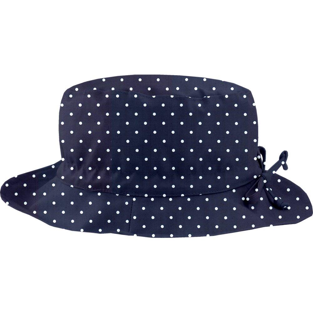 Chapeau pluie ajustable T3 pois marine