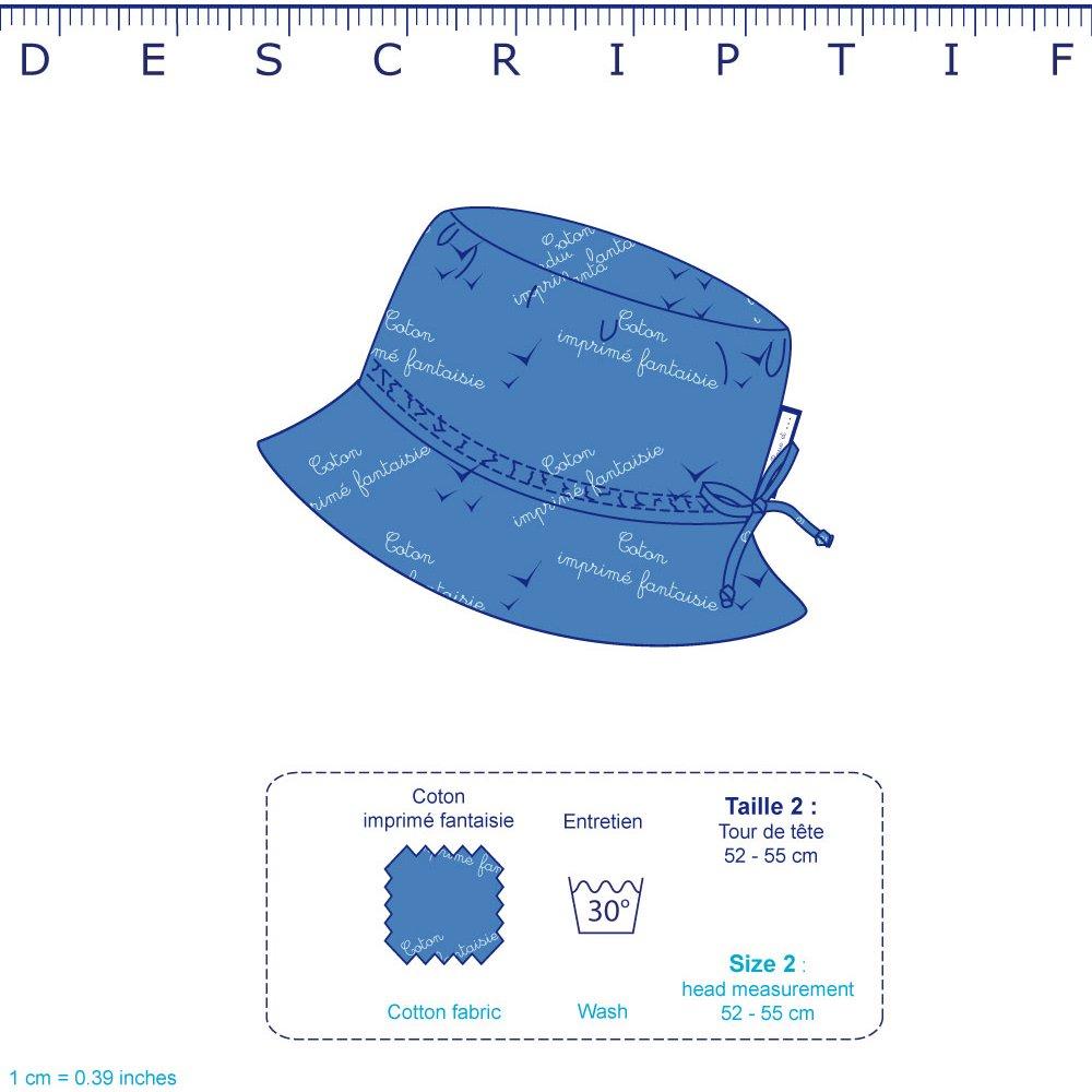 Chapeau de soleil enfant rayé bleu blanc